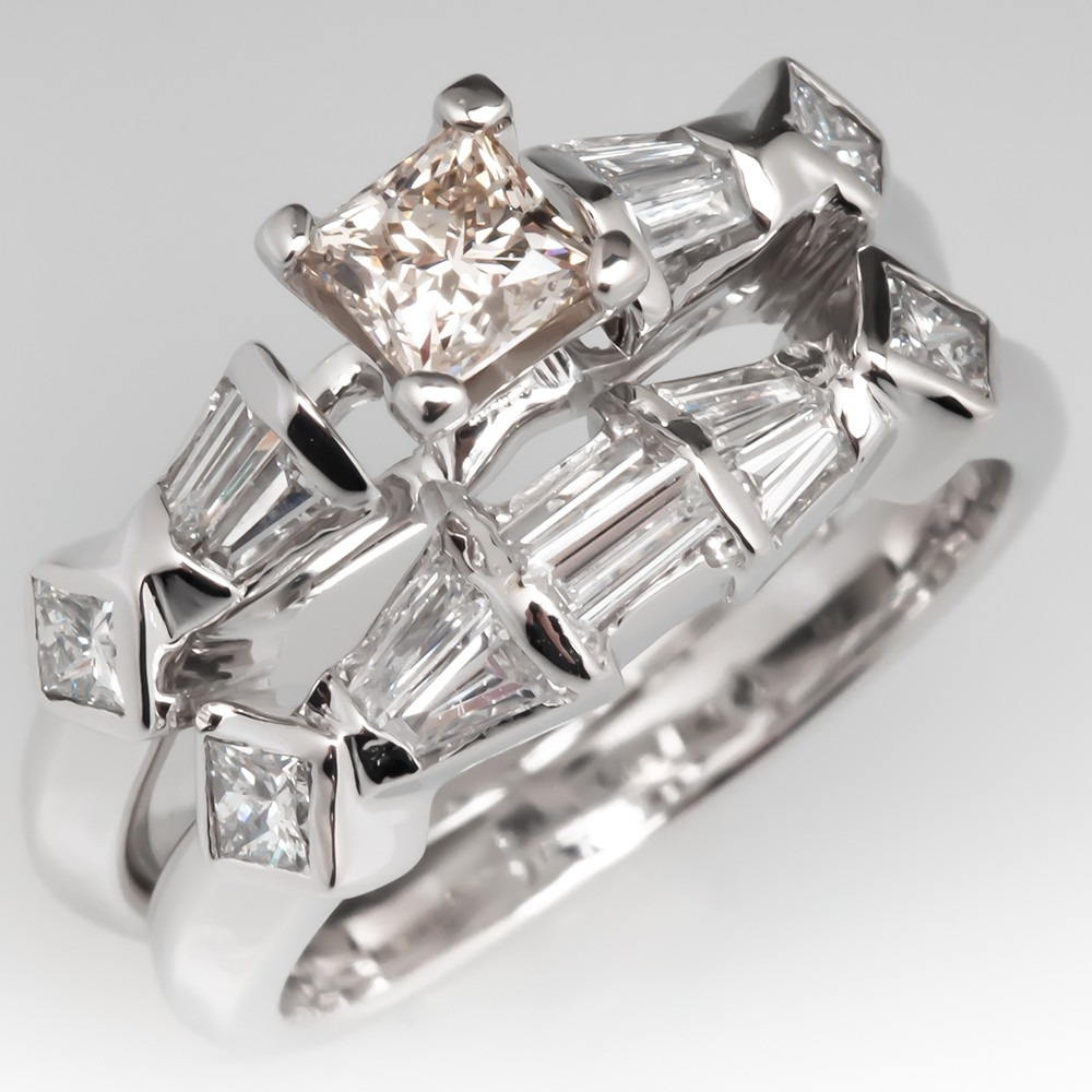 e6ef5b16e Unique Baguette & Princess Cut Diamond Fused Wedding Set 14K