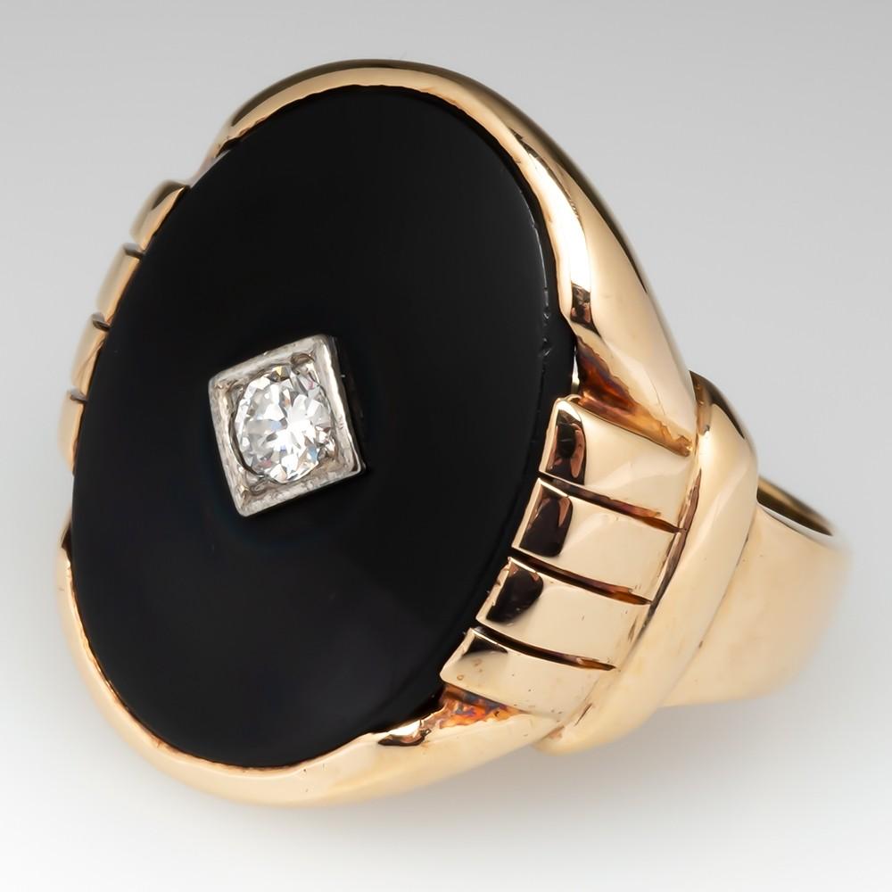 Mens 1940's Vintage Onyx & Diamond Ring