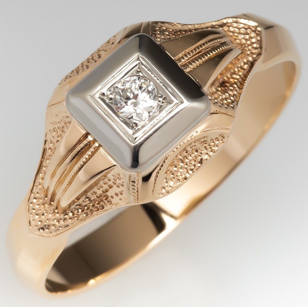 1940's Mens Wedding Ring Round Brilliant Diamond 14K Gold