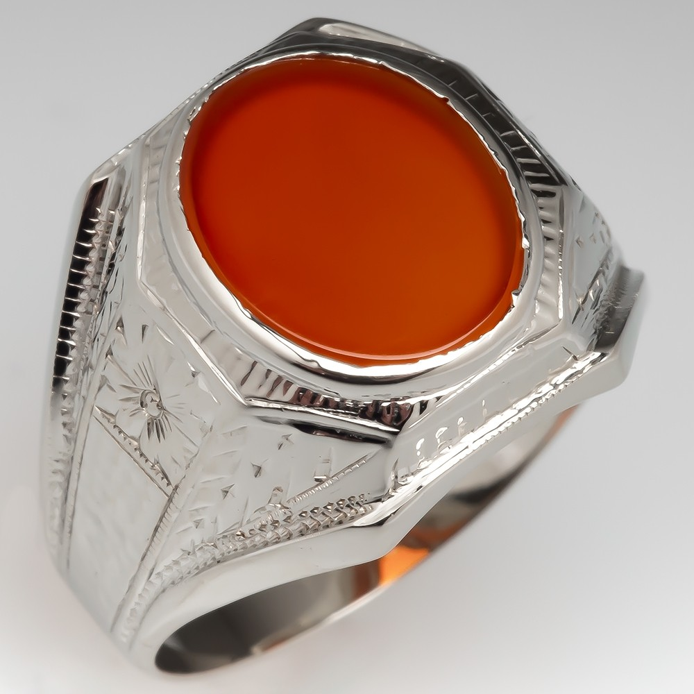 1940's Vintage Mens Carnelian Ring 14K White Gold