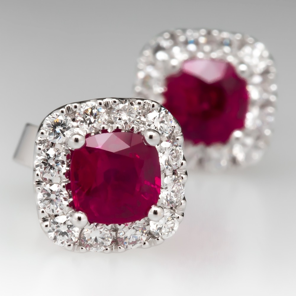 Cushion Ruby Diamond Halo Earrings 18K White Gold