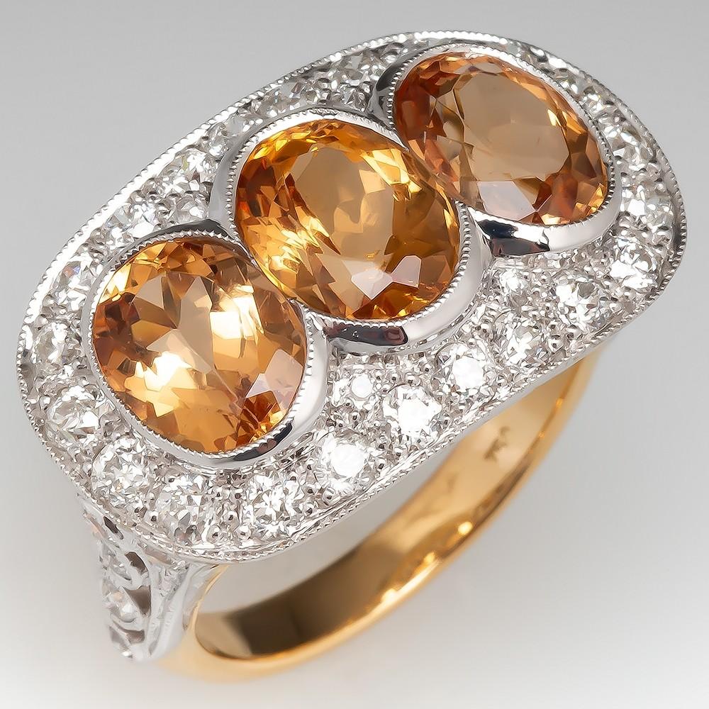 Precious Topaz Cocktail Ring W/ Diamond Halo Three Stone 18K