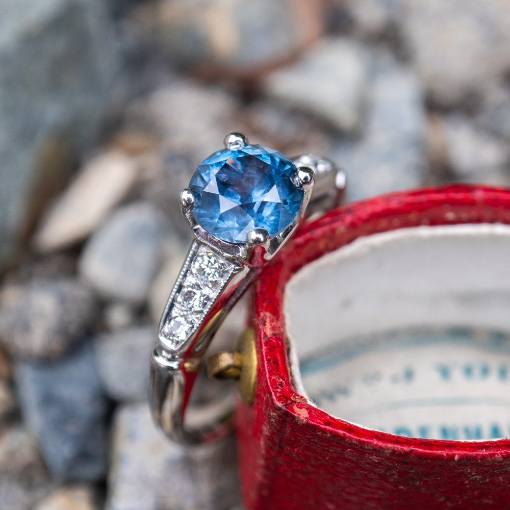 Round Brilliant Montana Sapphire Set in Vintage Platinum Diamond Engagement Ring