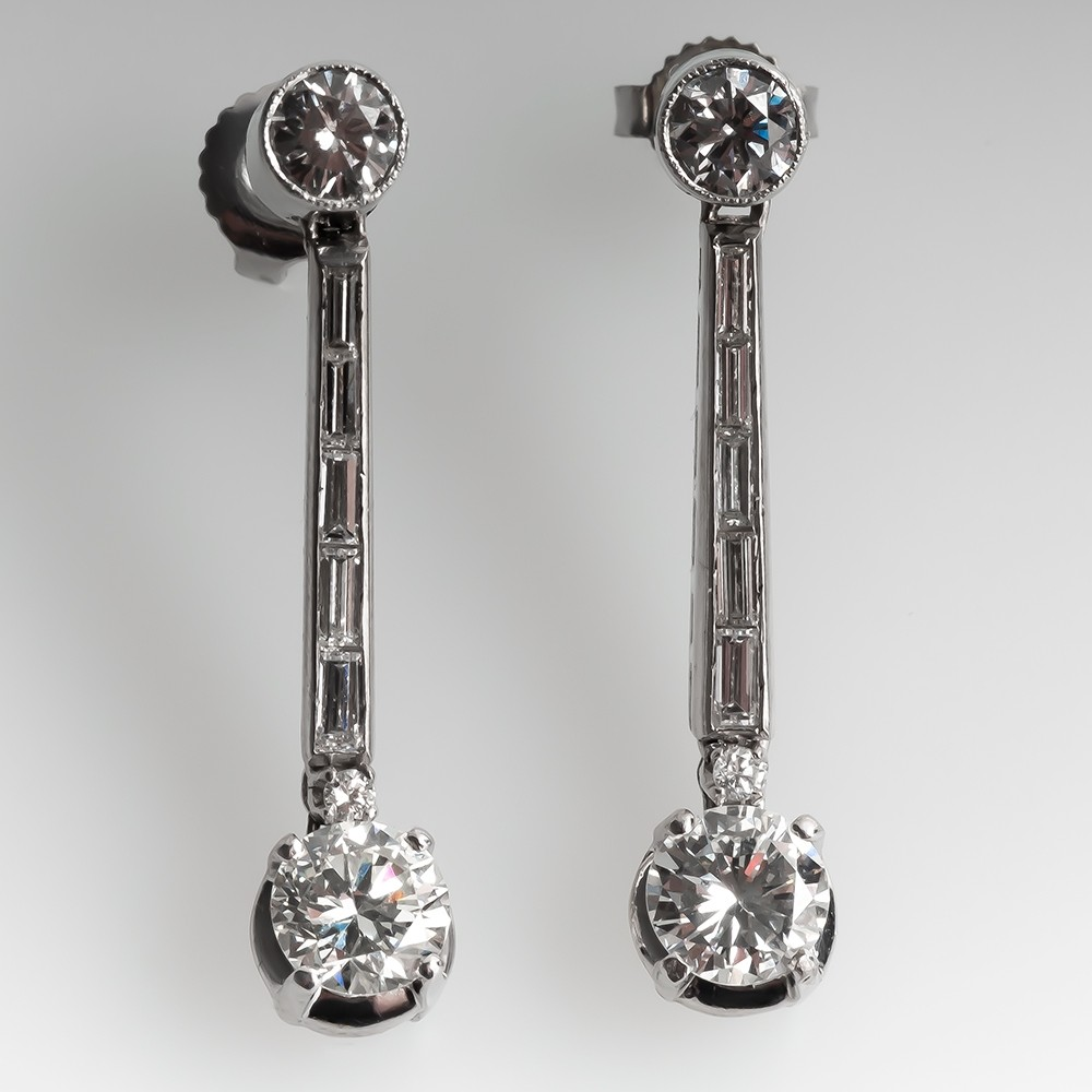 1950's Dangle Style Diamond Earrings 18k White Gold