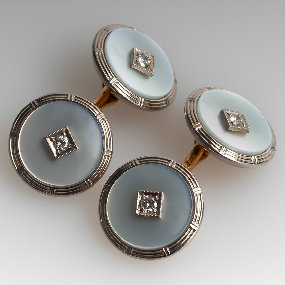 Vintage 1960's Mother of Pearl & Diamond Cufflinks