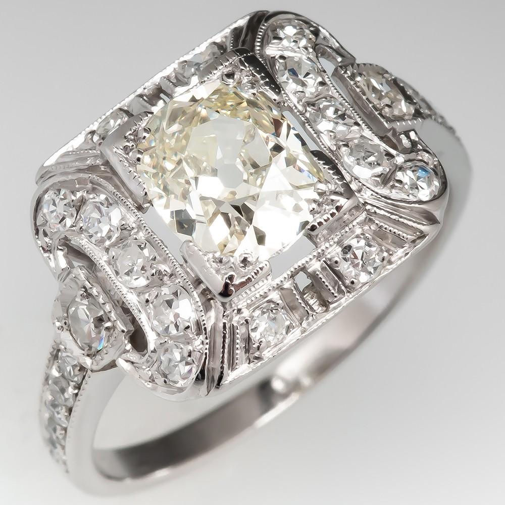 Antique Old Mine Cut Diamond Engagement Ring Detailed Platinum