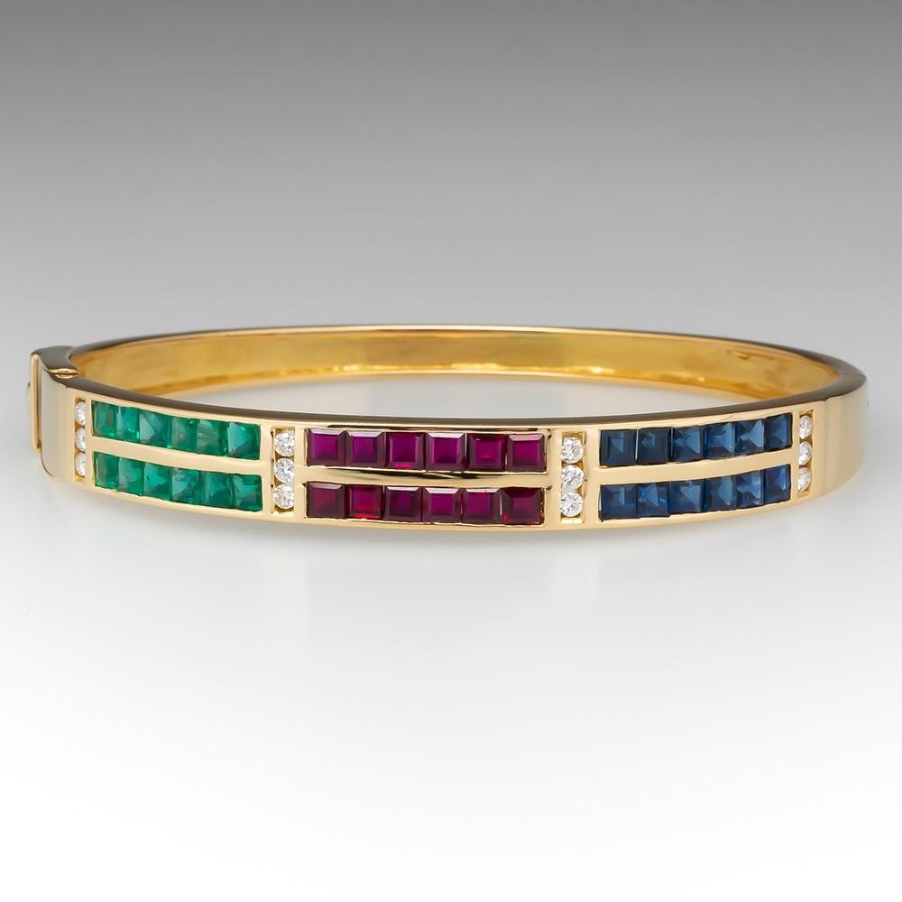 Emerald Ruby Sapphire & Diamond Bracelet 18K Yellow Gold