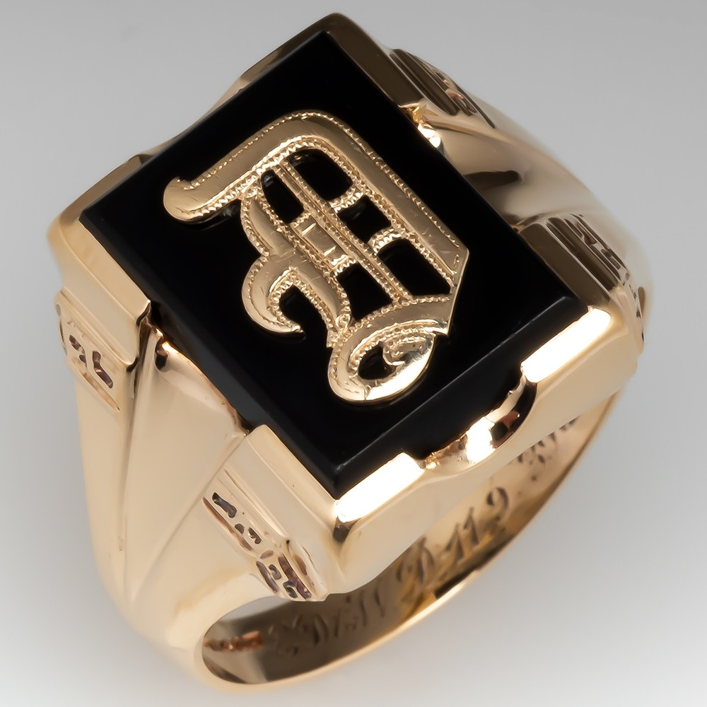 Vintage Mens Onyx D Initial Ring 14K Gold 1939