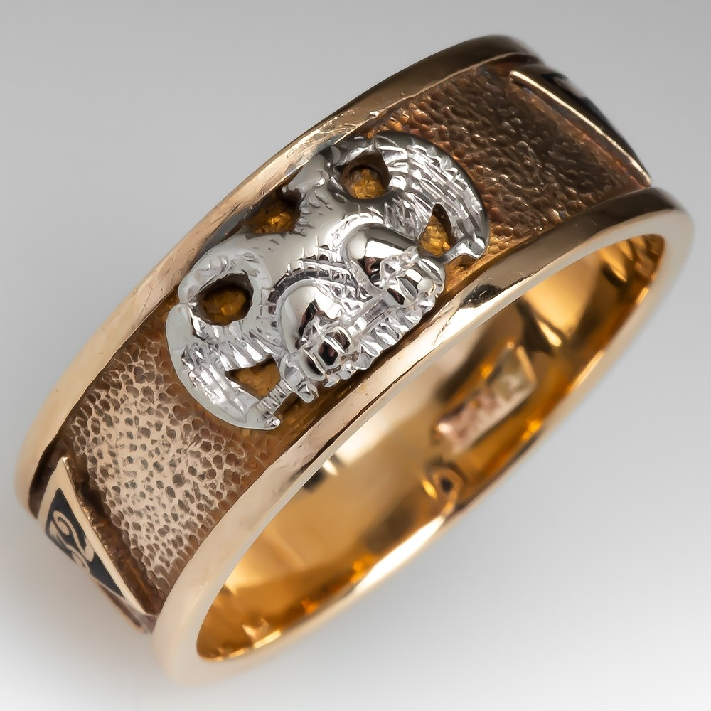 Antique Mens Masonic 32 Degree Ring in Yellow Gold
