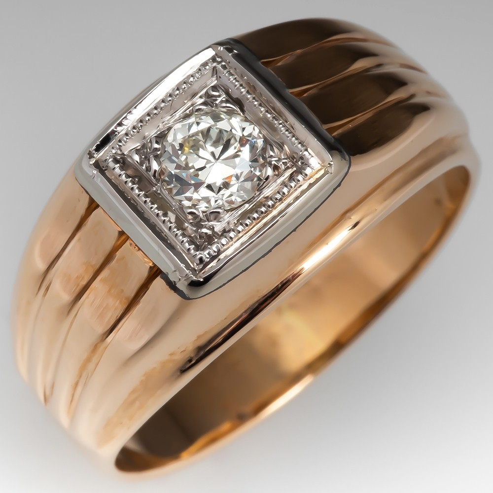 Mens Vintage Old Euro Diamond Ring Detailed 14K Gold