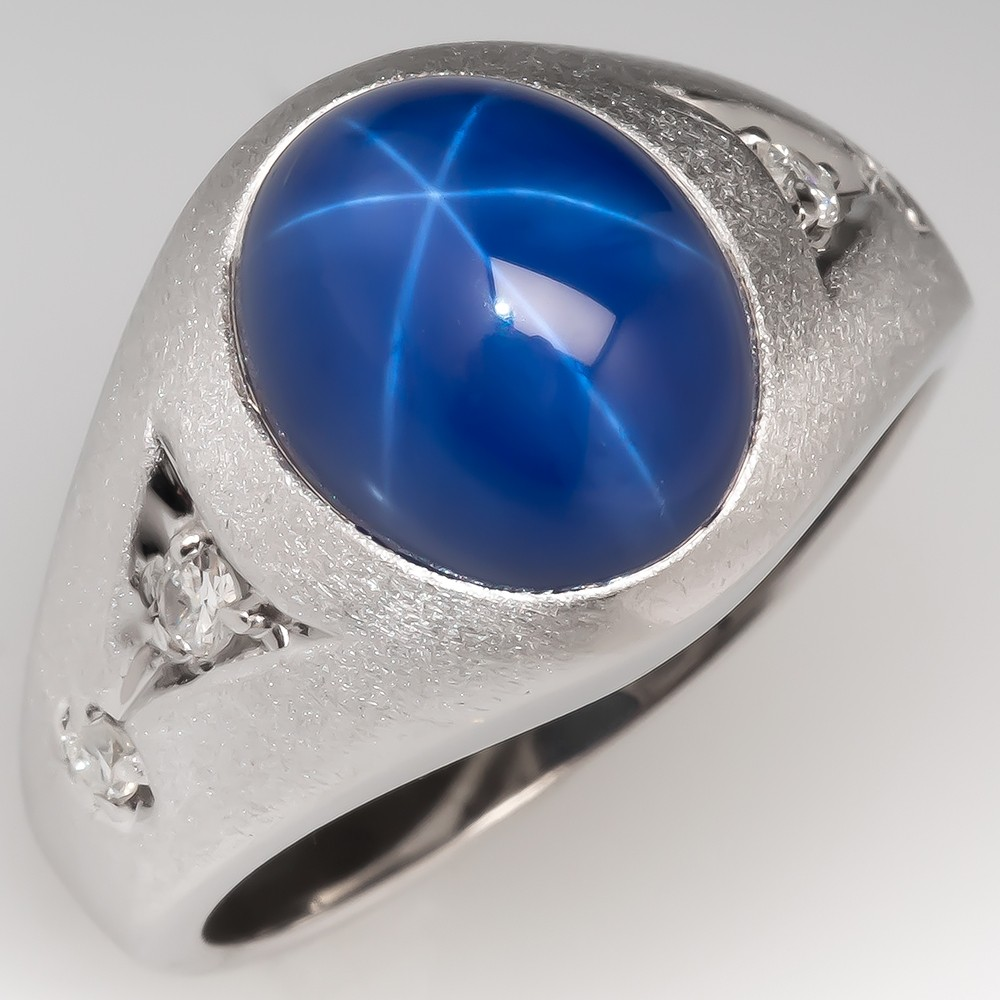 Created Star Sapphire 1970's Mens Ring with Diamond Accents