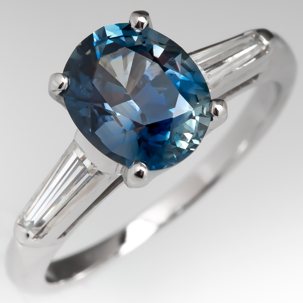 Oval Sapphire & Tapered Baguette Diamond Engagement Ring Platinum