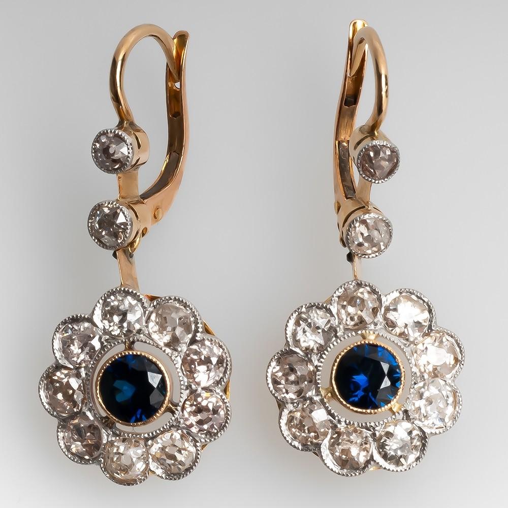 Blue Sapphire & Old European Cut Diamond Floral Earrings Platinum & 14K