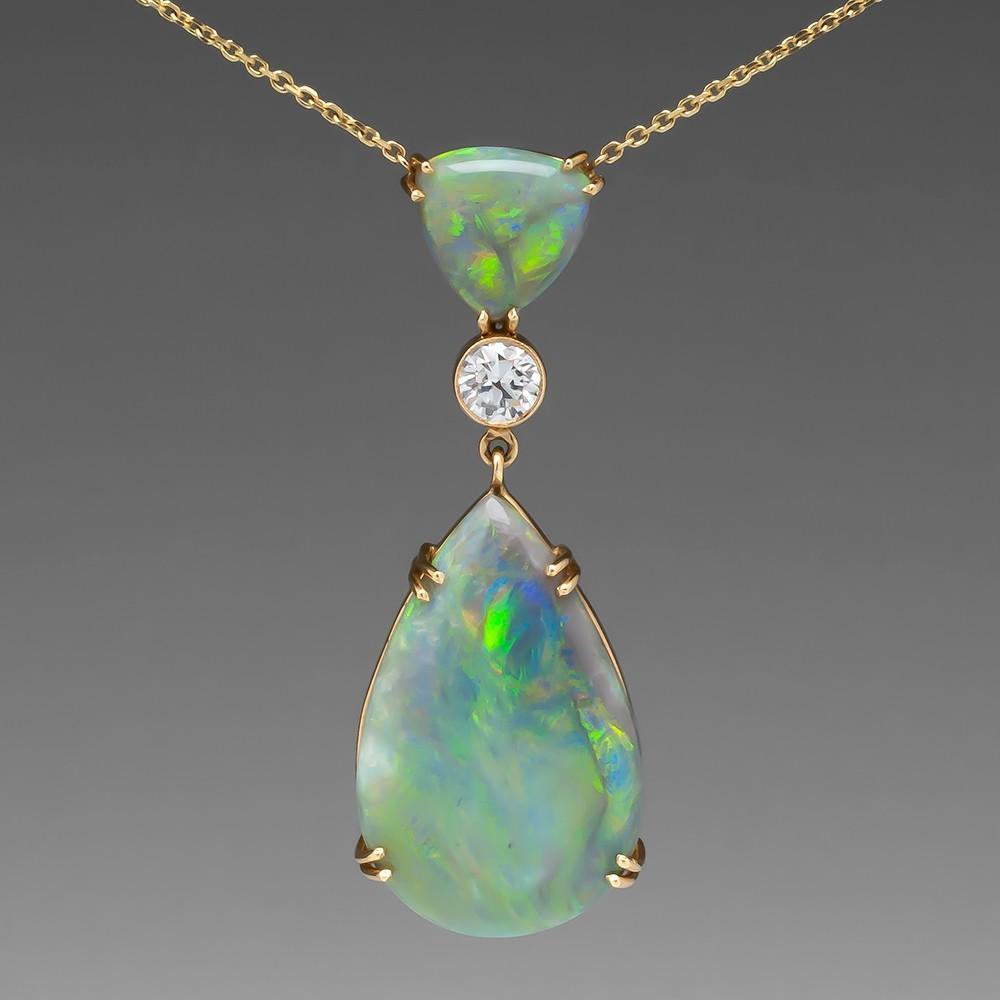 Beautiful Large Semi-Black Opal & Diamond Necklace 14K Gold