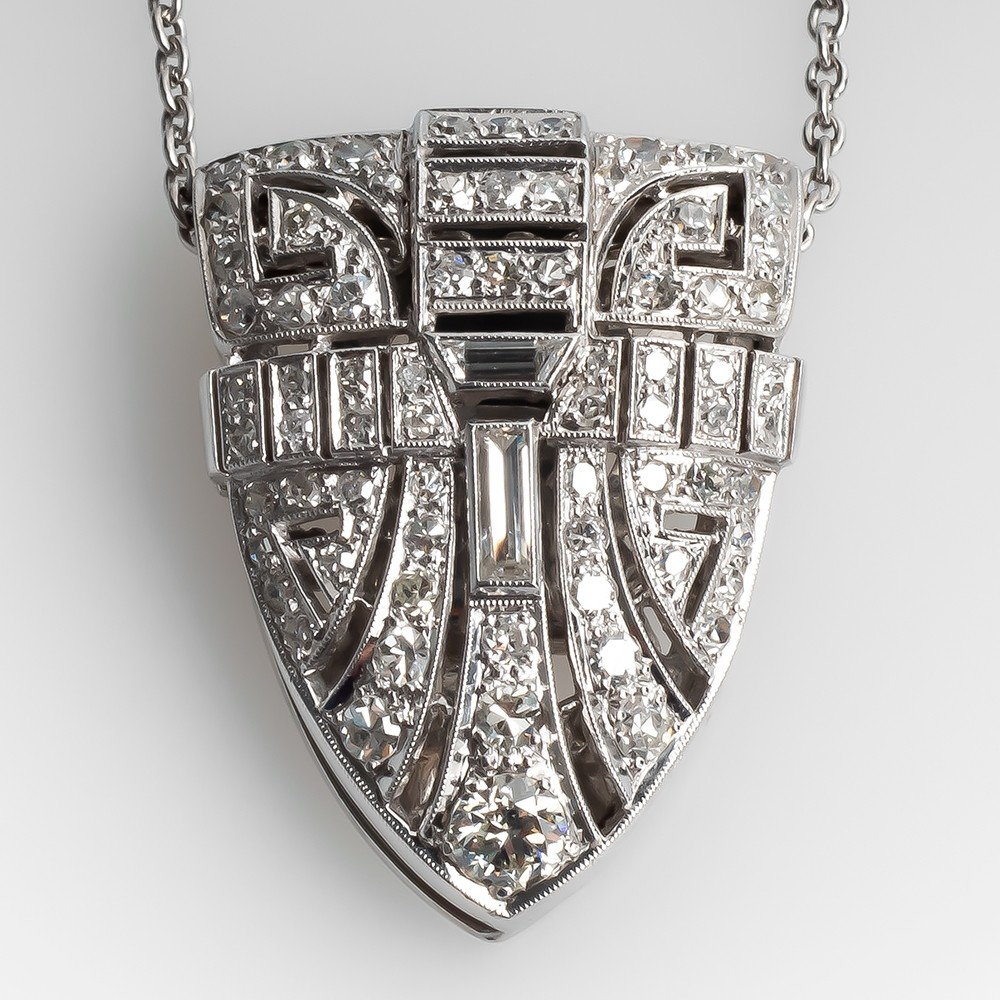 Vintage Diamond Clip Pendant Necklace Platinum 1950's