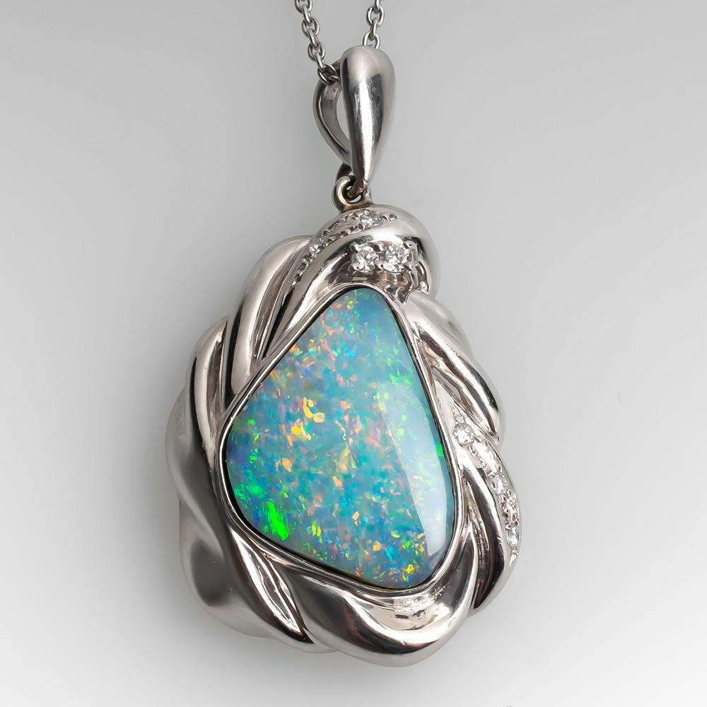 Freeform Opal Pendant Necklace w/ Diamond Accents Platinum