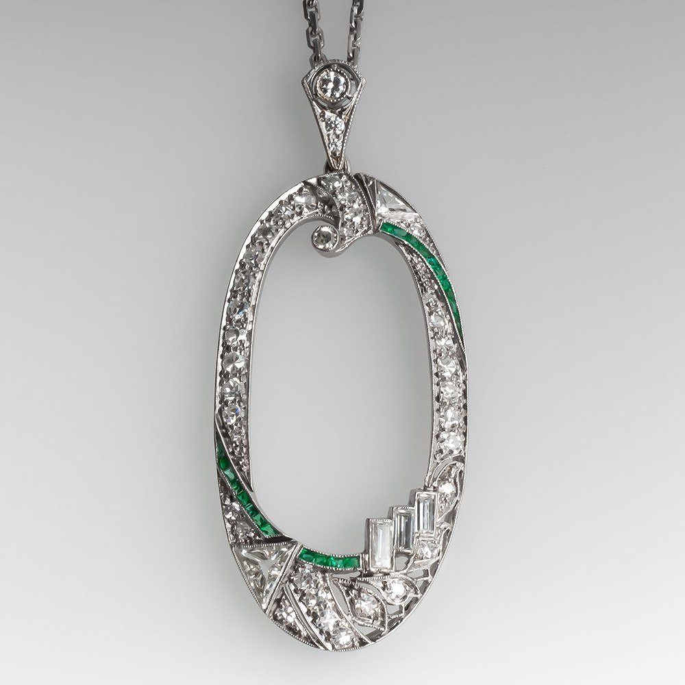 Stunning Art Deco Pendant Necklace Diamonds & Emeralds 1930's