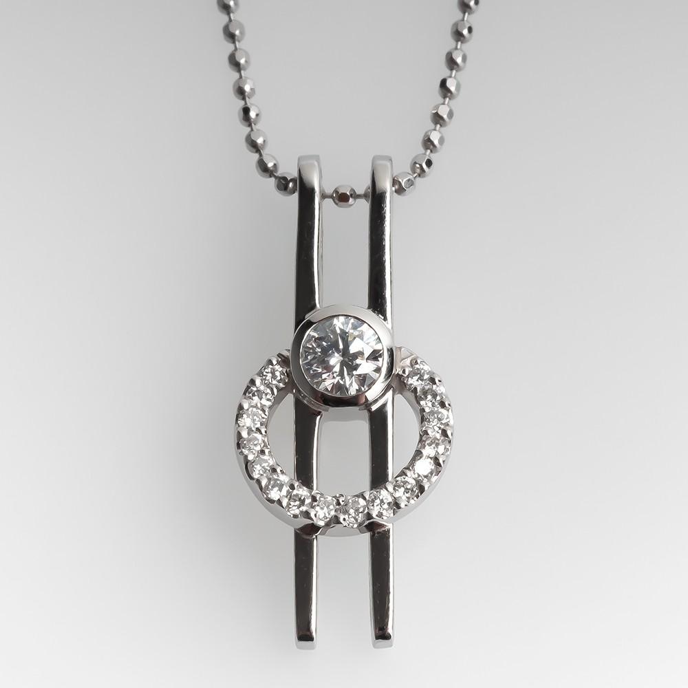 La Verité Diamond Pendant Necklace Platinum & 18K
