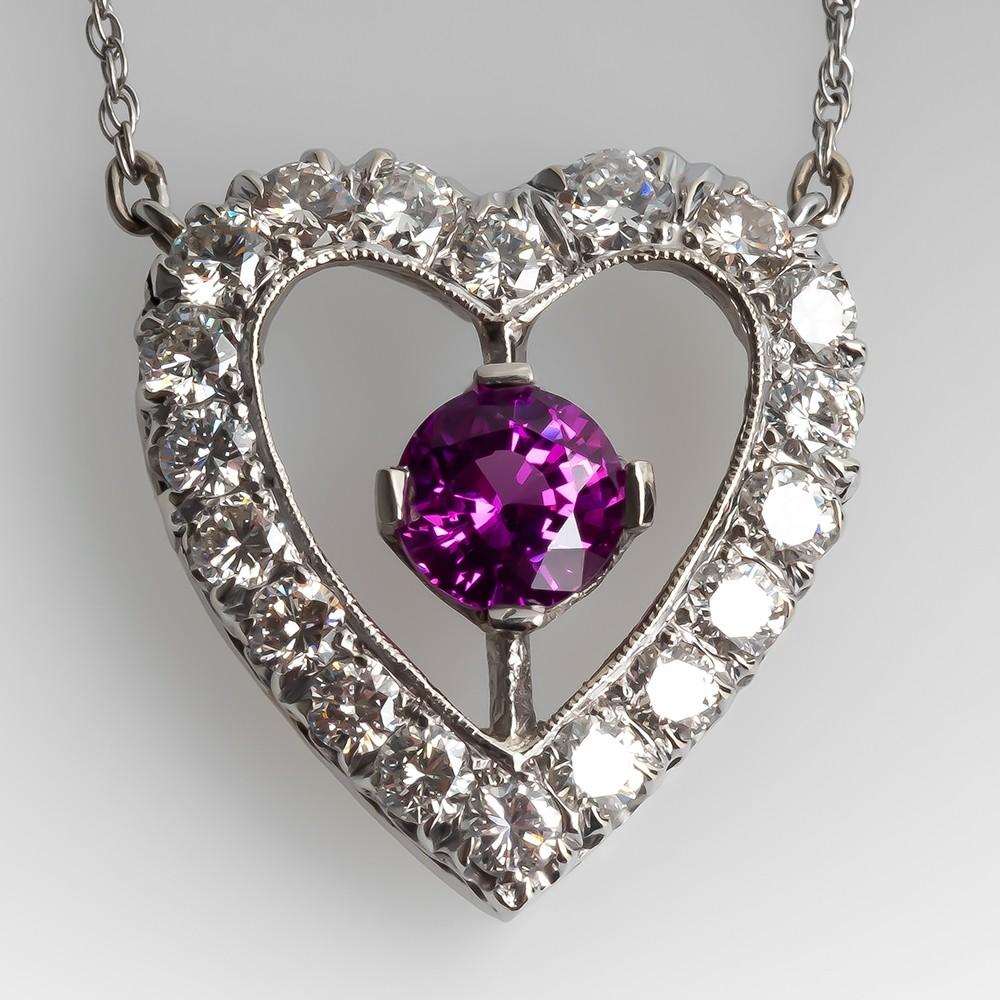 Heart Diamond & Pink Sapphire Necklace 14K White Gold