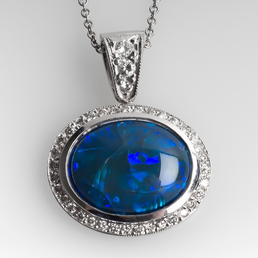 Black Opal & Diamond Slide Pendant Necklace 18K White Gold