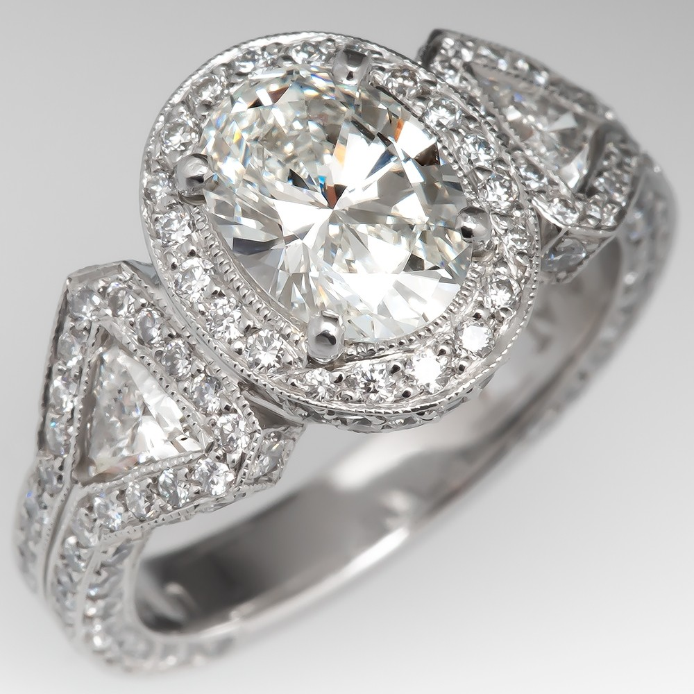 Oval Diamond Halo Engagement Ring Platinum w/ Triangle Accents