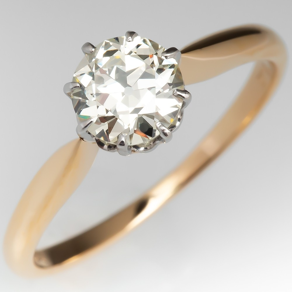 Victorian Old European Cut Diamond Solitaire Crown Engagement Ring