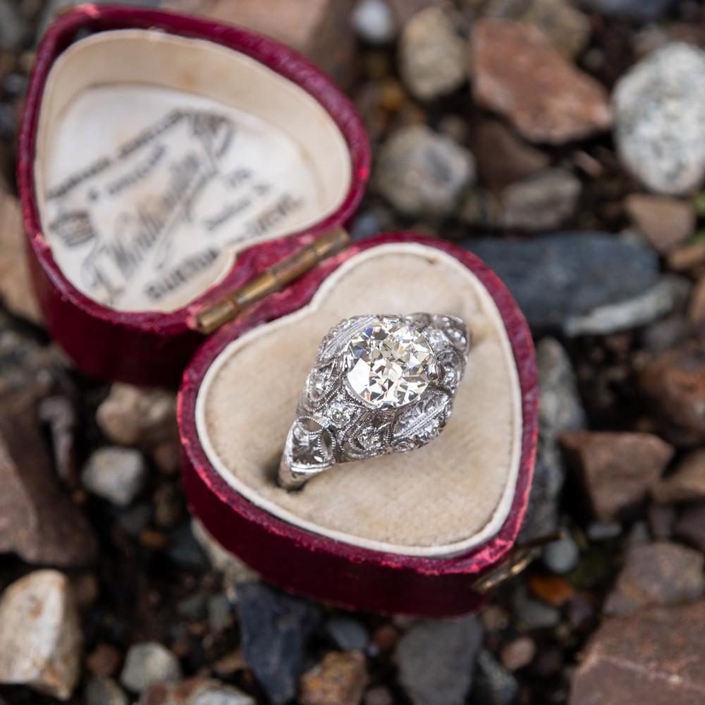 1920's Antique Filigree Engagement Ring Old European Cut Diamond