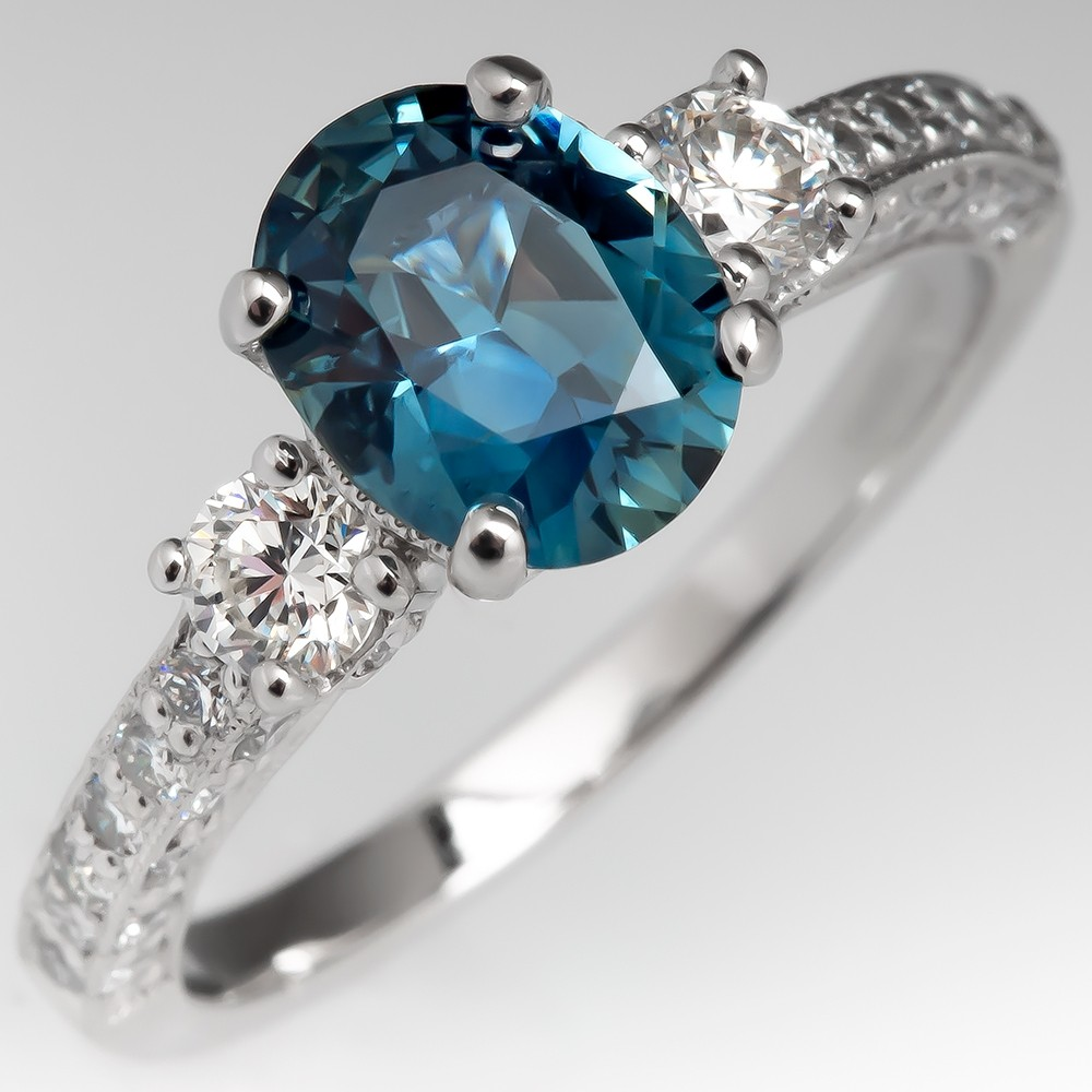 No Heat Icy Blue Green Sapphire Engagement Ring Platinum w/ Diamonds