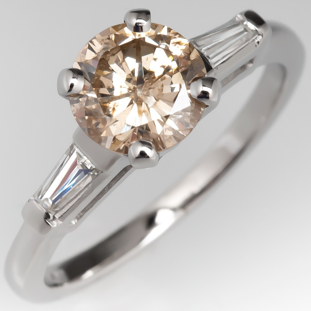 Light Champagne Diamond Engagement Ring W Tapered Baguettes