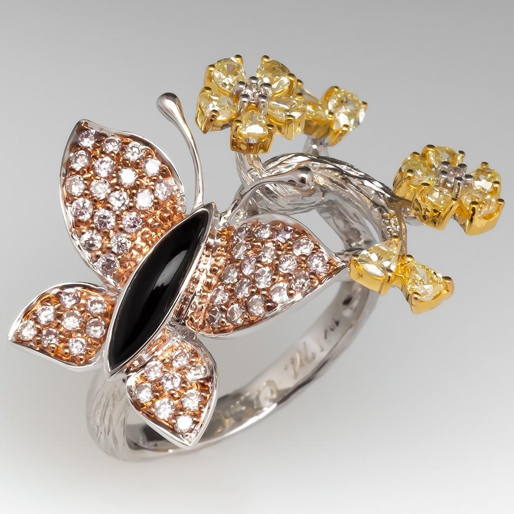 73f3e0698f88f Michael Christoff Fancy Diamond Butterfly Cocktail Ring 18K