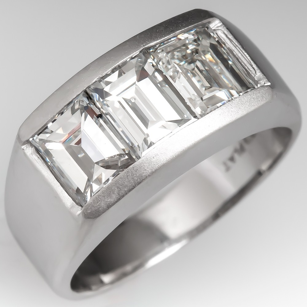 Three Stone Emerald Cut Diamond Platinum Ring