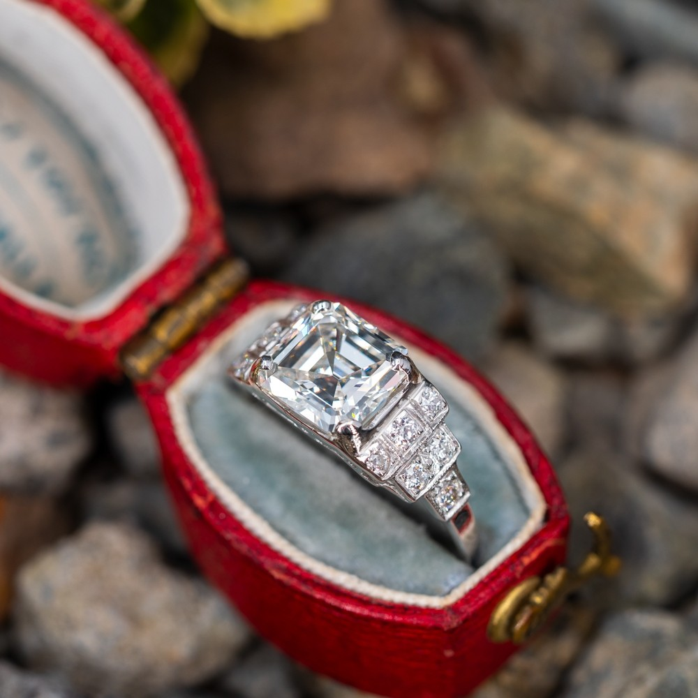 2 Carat Emerald Cut Diamond Vintage Engagement Ring