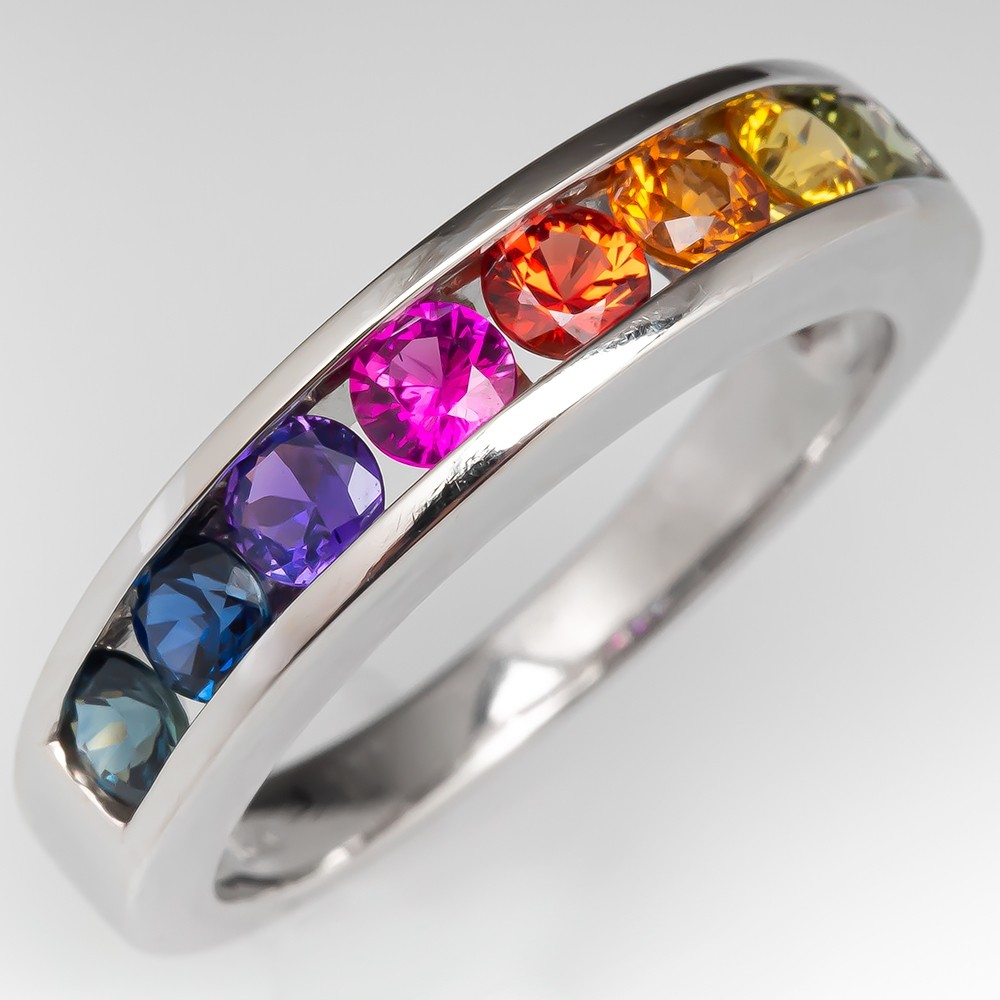 It is just a graphic of Rainbow Sapphire Band Ring 48K White Gold