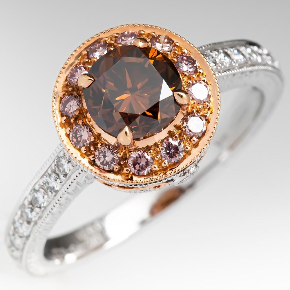 75a2982b600ff 1 Carat Fancy Diamond Halo Engagement Ring 18K