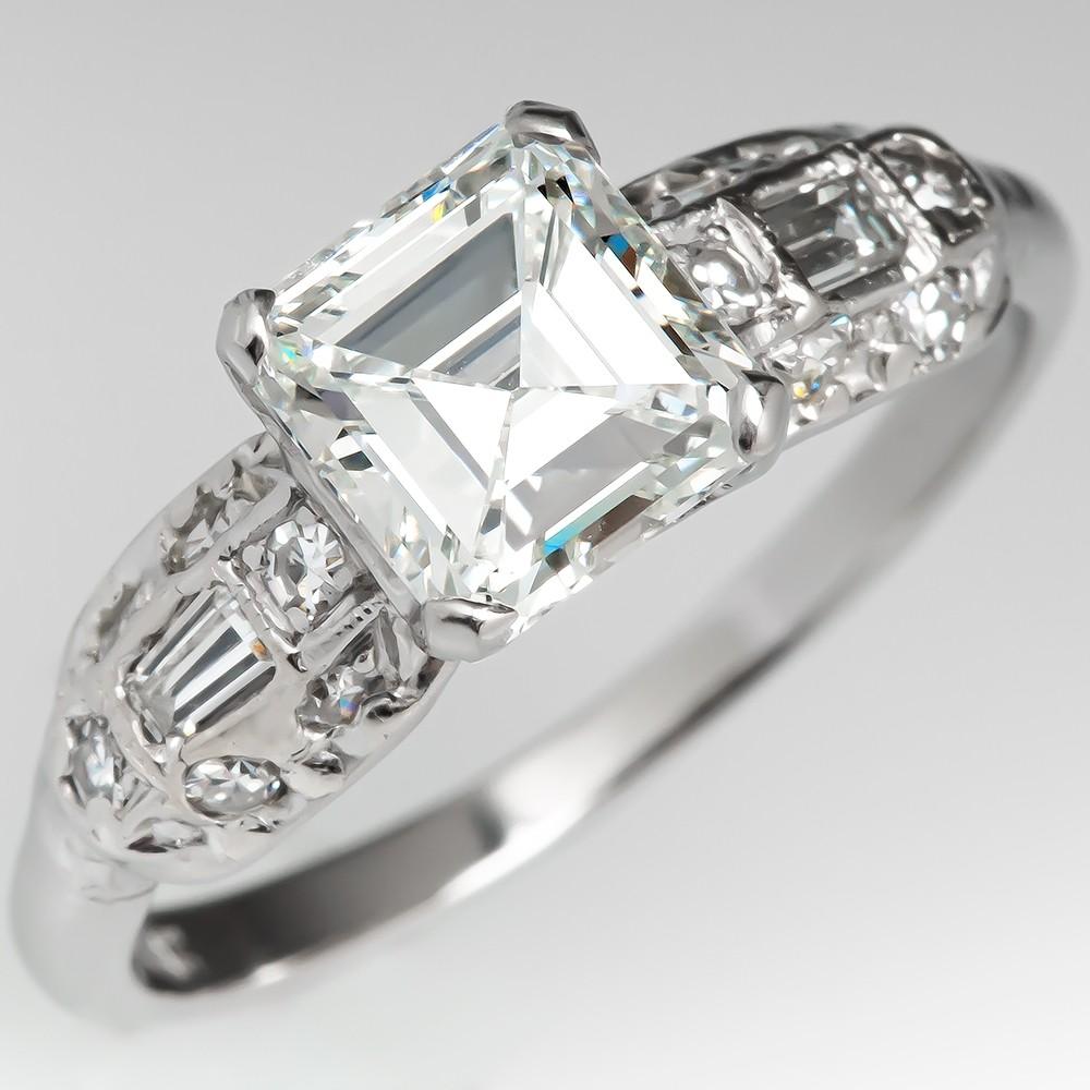 Square Emerald Cut Vintage Diamond Engagement Ring Platinum Gia