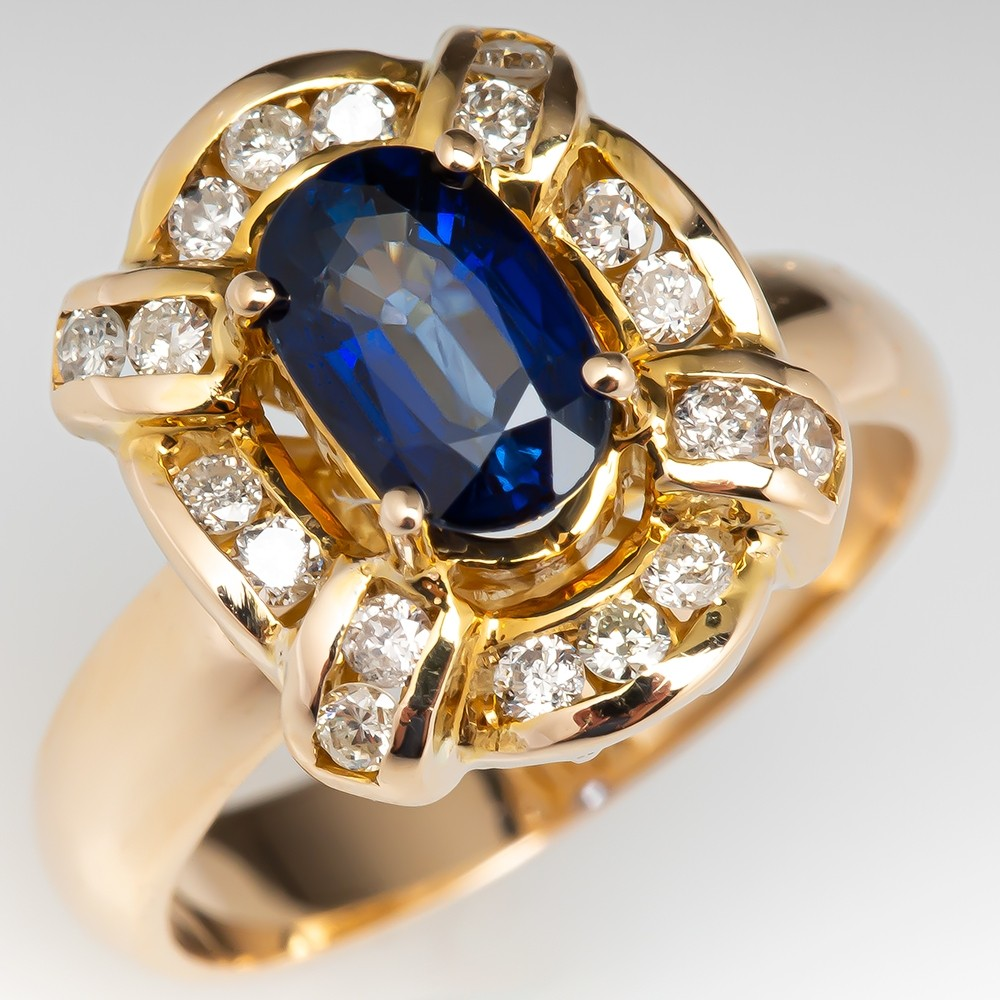 1f7a35c360fae Vintage Blue Sapphire Ring w/ Diamond Accents 14K Yellow Gold ...
