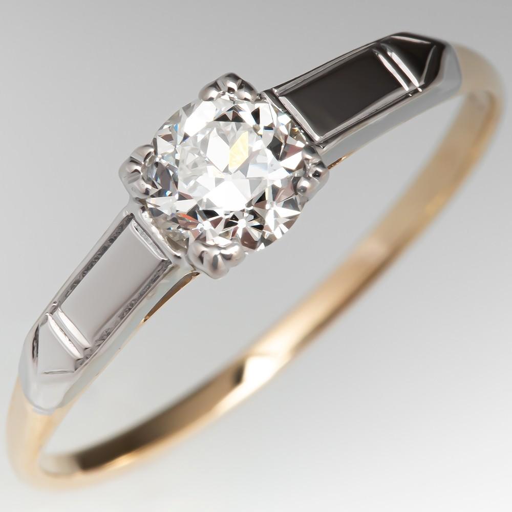 baf3786276c0e 1940's Vintage Diamond Solitaire Engagement Ring .47ct H/VS2 GIA