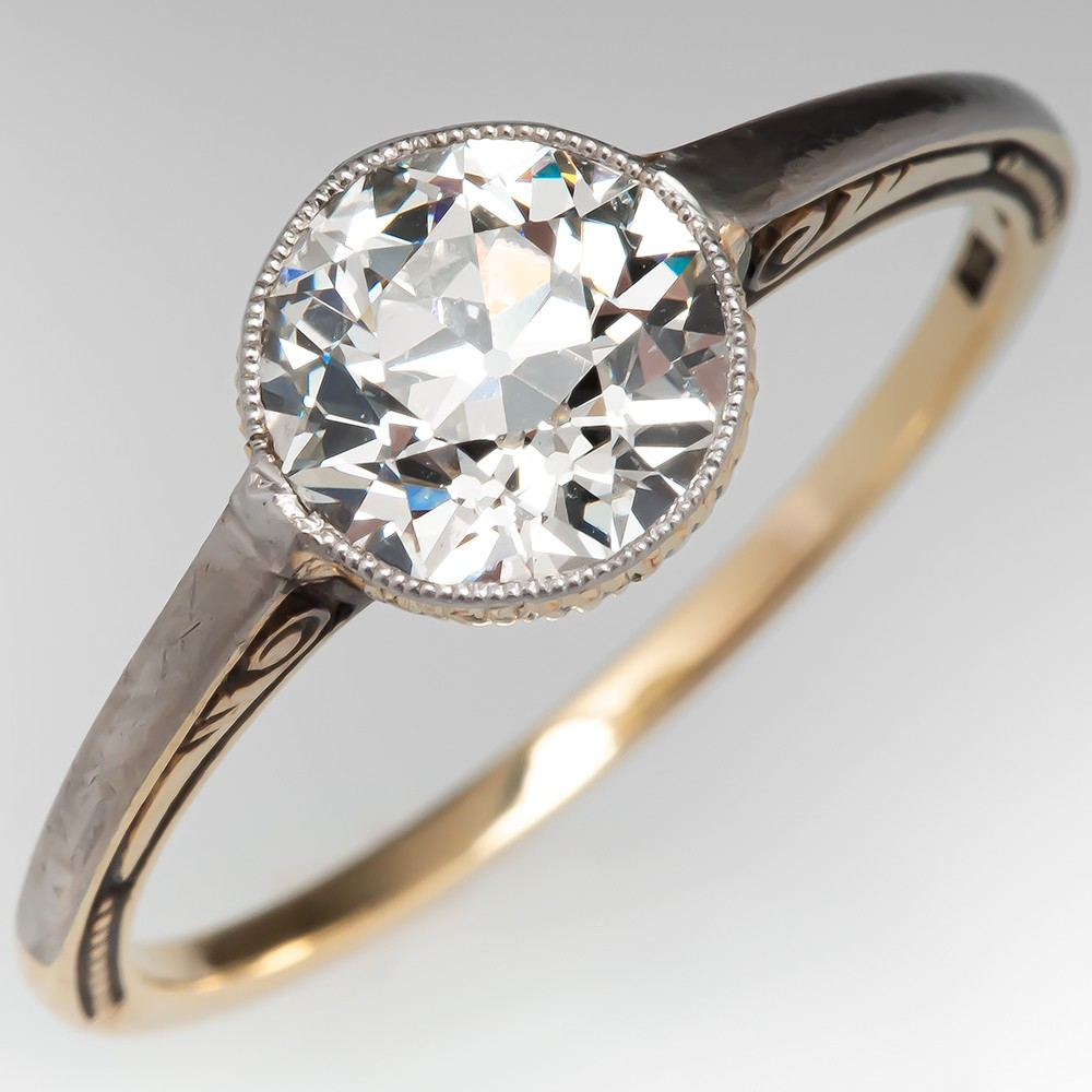 35004f2f69239 Turn of the Century Bezel Set Diamond Solitaire Engagement Ring 1.60 ...
