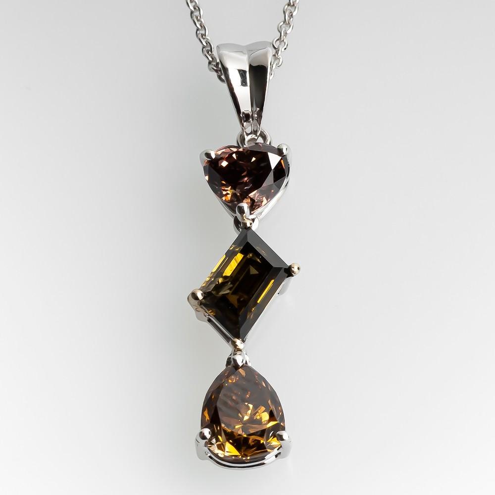 Fancy Brown Custom Diamond Drop Necklace 18K