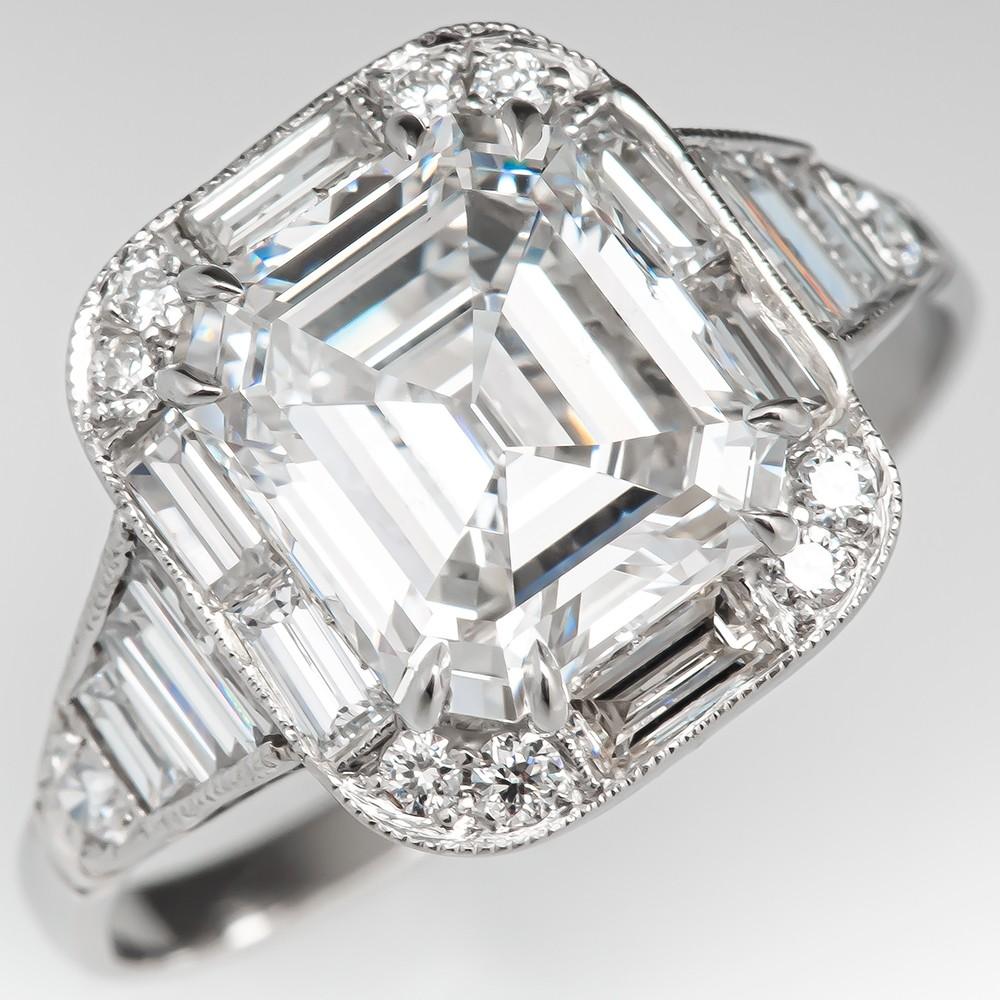Emerald Cut Diamond Vintage Engagement Ring 2 40ct E If Gia