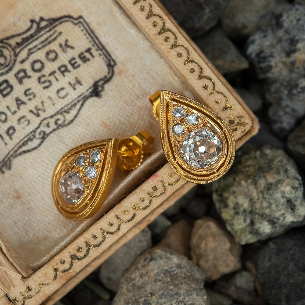 Old Mine Cut Diamond Stud Earrings Pear Shaped 14k