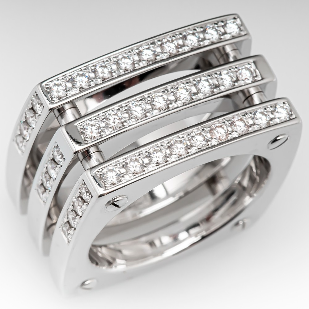 Details about  /14k White /& Rose Gold High Polished Open Triple Row Beaded Ring Band Size 6.5