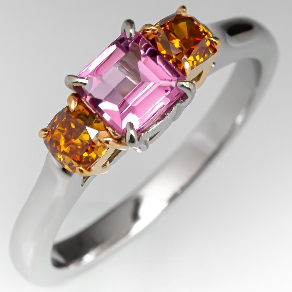 Unique Pink Topaz Ring W/ Fancy Color Diamond Accents