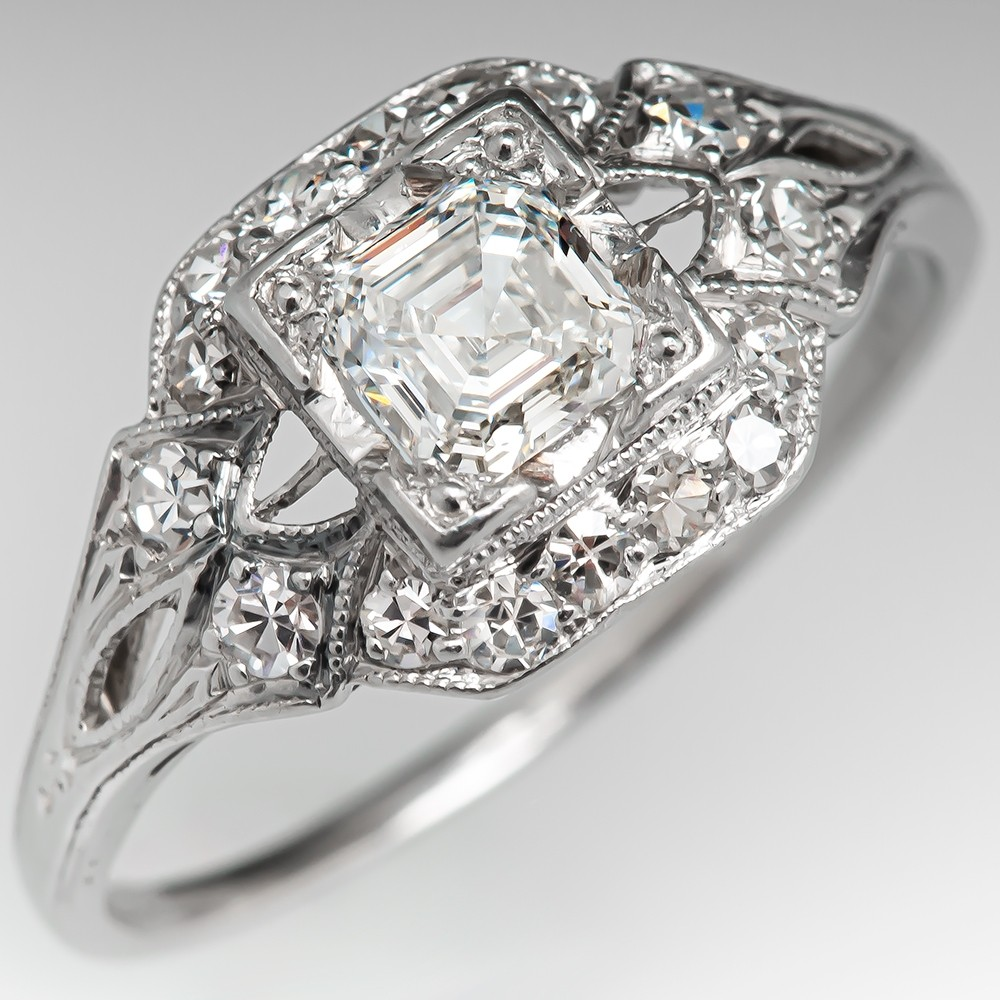 Vintage Square Emerald Cut Diamond Engagement Ring 46ct G Vs1 Gia