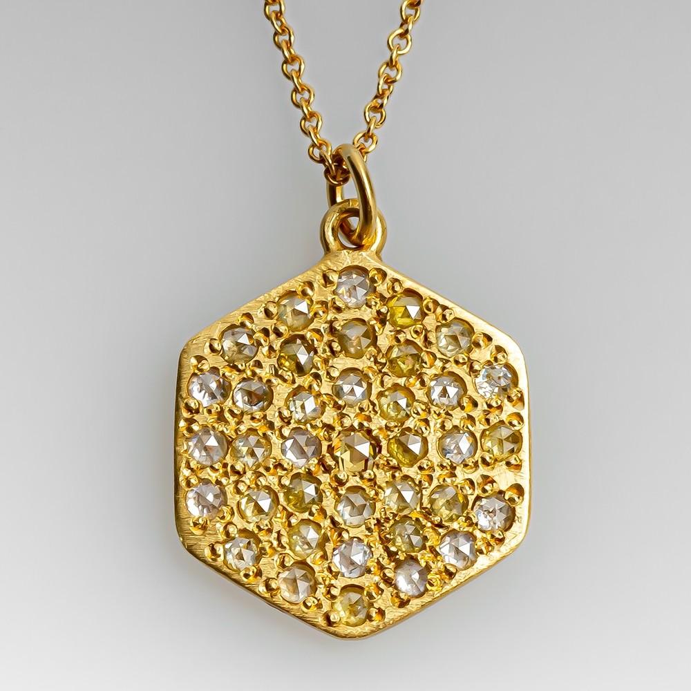 Brooke Gregson Hexagon Fancy Yellow Rose Cut Diamond Pendant Necklace 18k Gold