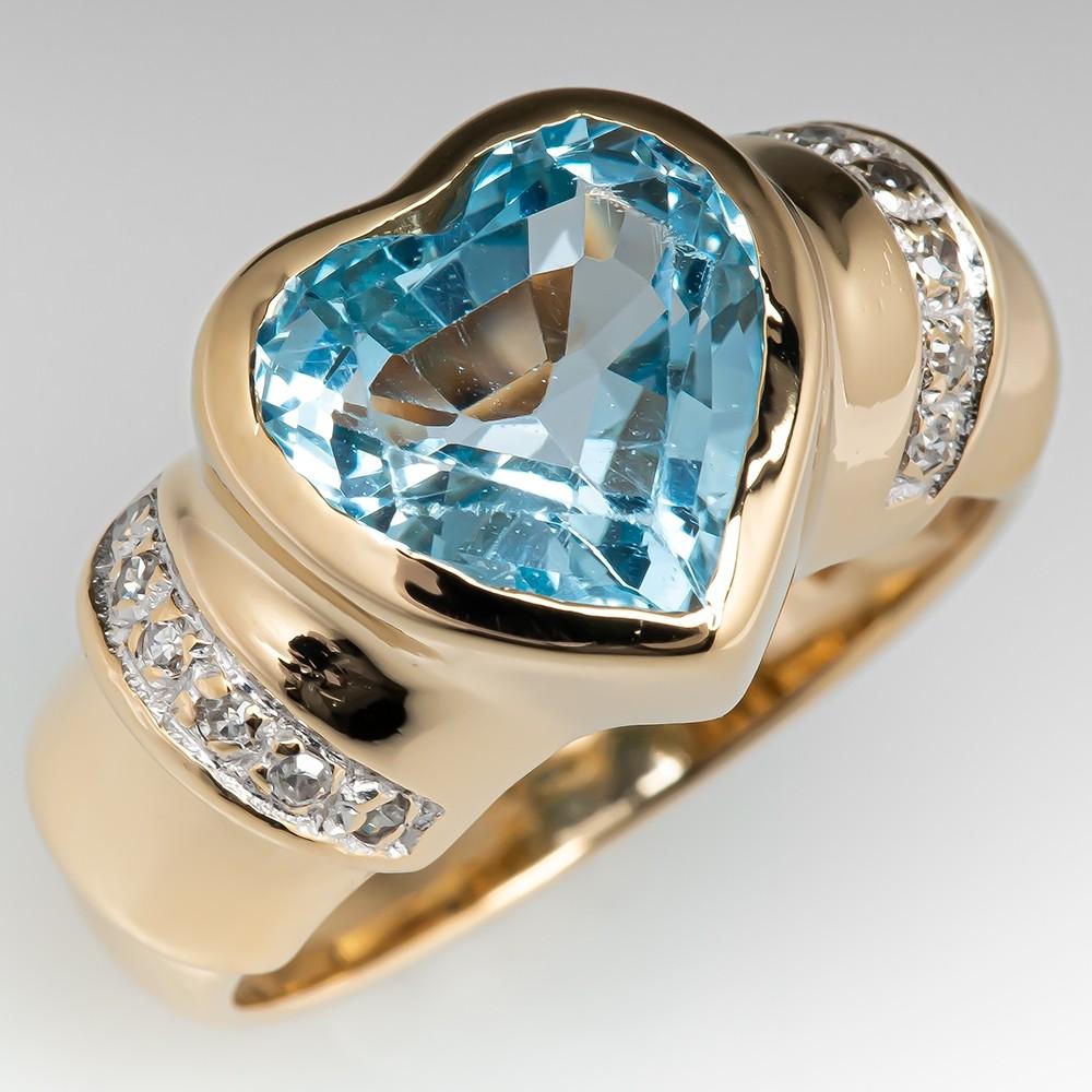 Heart Cut Blue Topaz Ring W/ Diamond Accents 14K Gold