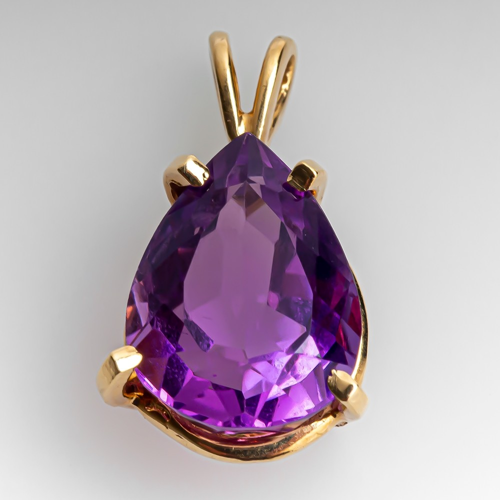 Pear Cut Amethyst /& Diamond Ring .90ctw 14k Yellow Gold Ribbed