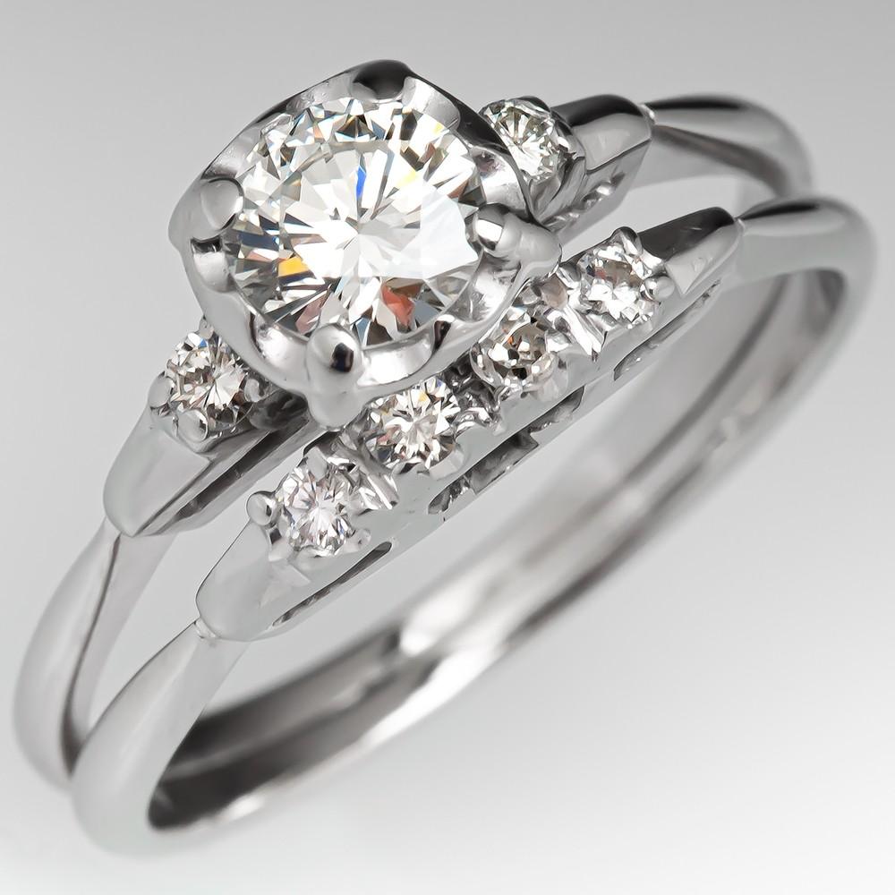 18k White Gold Vintage Wedding Set Round Brilliant Diamond 45ct H Vs1