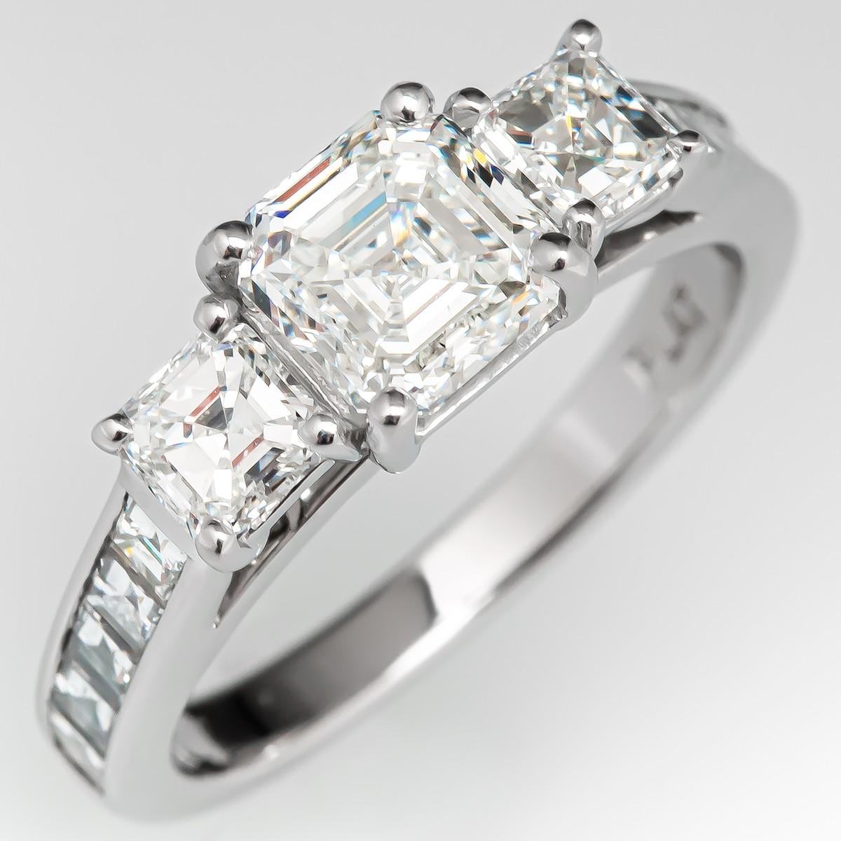 Square Emerald Cut Diamond Engagement Ring Three Stone 1 23ct G Si1 Gia