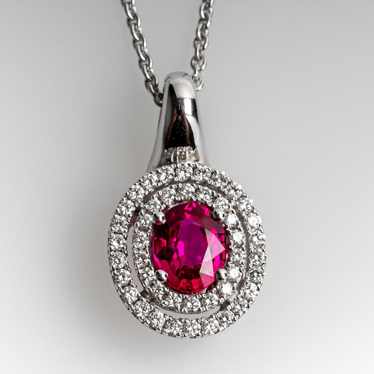 Details about  /Diamond /& Ruby Pendant Necklace Set in Yellow Gold Plated Silver Stunning Halo D
